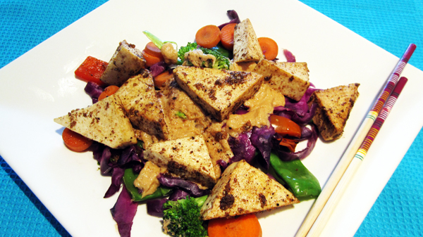 Tofu with thai coconut peanut sauce low carb recipe